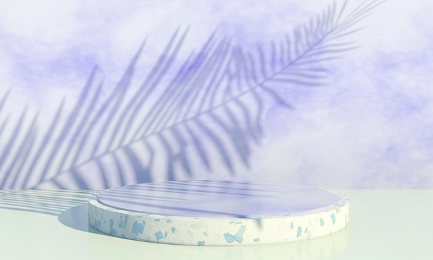 Podium with palm leaves on pastel background