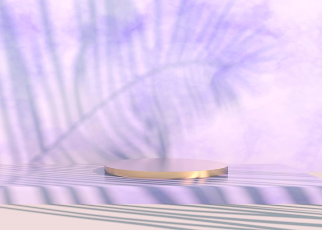 Podium with palm leaves shadows for cosmetic product presentation. empty showcase pedestal backdrop mock up. 3d render.