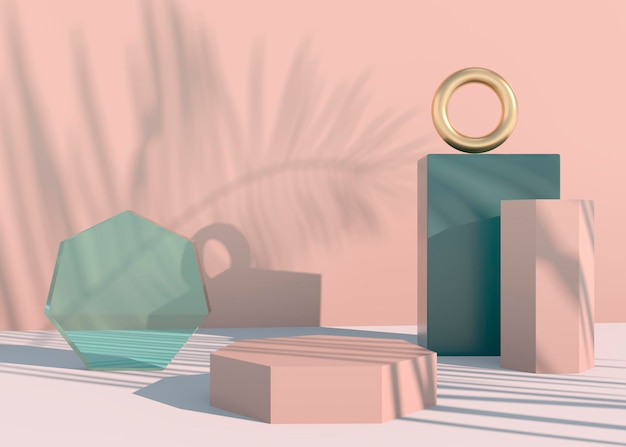 Podium with palm leaves shadows for cosmetic product presentation.
