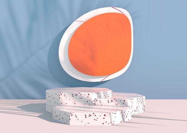 Подиум с тенями пальмовых листьев для презентации косметической продукции. пустой фон постамента витрины макет. 3d визуализация.