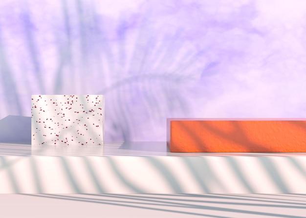 야자수가 있는 연단은 화장품 프레젠테이션을 위해 그림자를 남깁니다. 빈 쇼케이스 받침대 배경이 조롱됩니다. 3d 렌더링입니다.