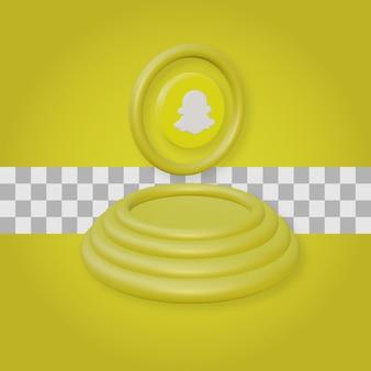 Snapchatロゴの3dレンダリングで表彰台