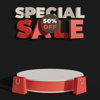 Podium for your product with 3d special sale text