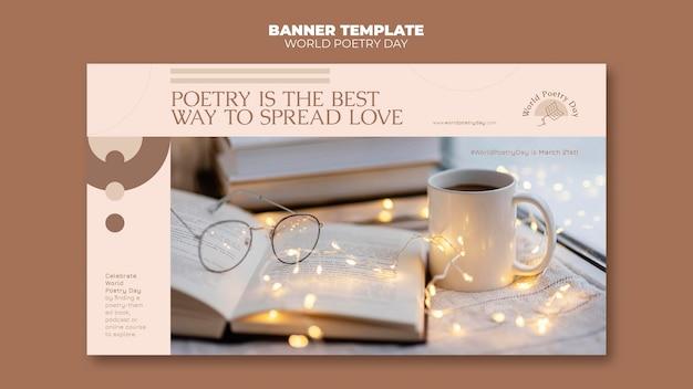 Modello di banner giorno di poesia con foto