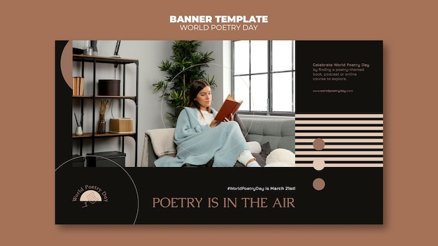 Poetry day banner template with photo