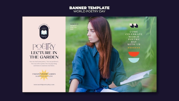 Poetry day banner template