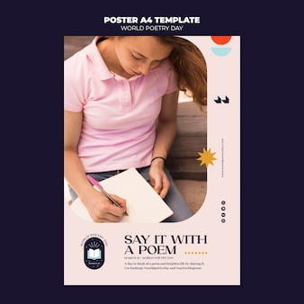 Poetry day poster template