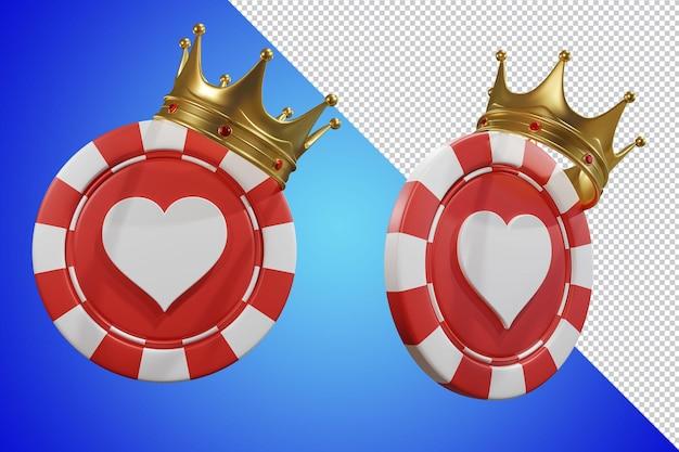 포커 칩 킹 크라운 3d 렌더링 절연