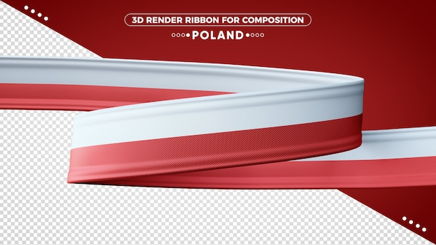 Poland 3d render ribbon for composition