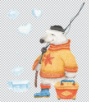 Белый медведь идет на рыбалку