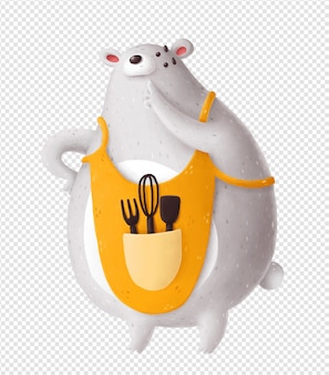 Белый медведь в кухонном фартуке