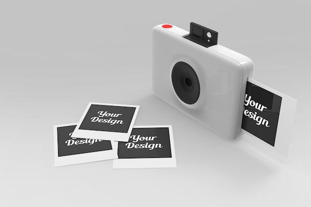 Polaroid camera and photos mockup