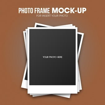Polaroid photo frame mockup template