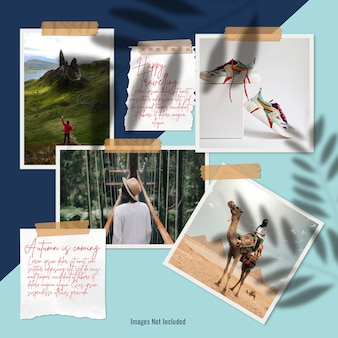 Polaroid photos stuck by scotch tape mood board presentation Premium Psd
