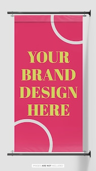 Pole banner flag branding psd mockup front view