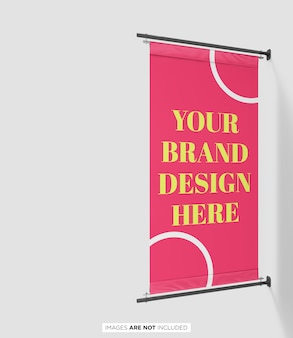 Pole banner flag branding psd mockup perspective view