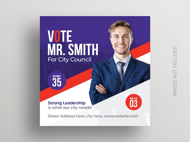 Political election social media post banner and square flyer template