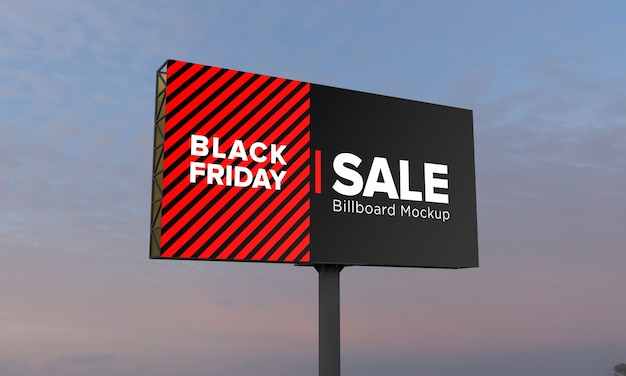 Poll billboard mockup with black friday sale banner