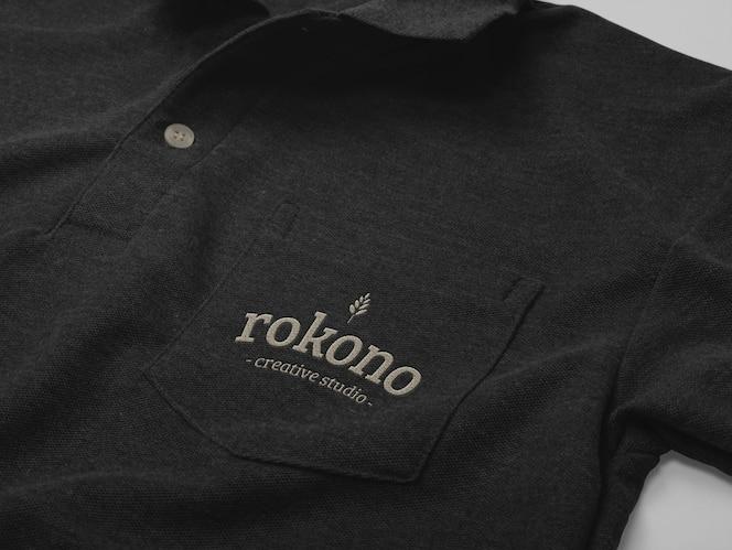 Дизайн макета рубашки поло, изолированный с карманом