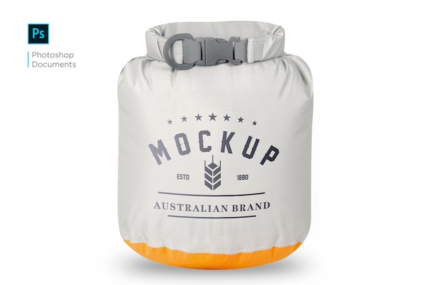 Polyester bag sack with logo mockup