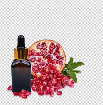 Pomegranate in amber serum bottle with fresh leaves isolated on white background premium psd.