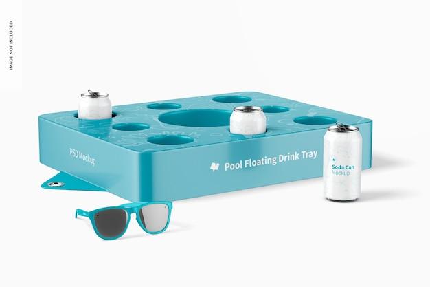 Мокап плавающего подноса с напитками у бассейна, перспектива