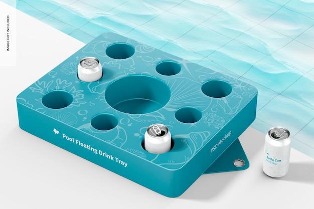 Мокап плавающего подноса для напитков с напитками из жестяных банок