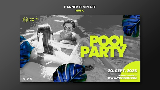 Pool party music banner design template