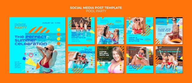 수영장 파티 소셜 미디어 게시물