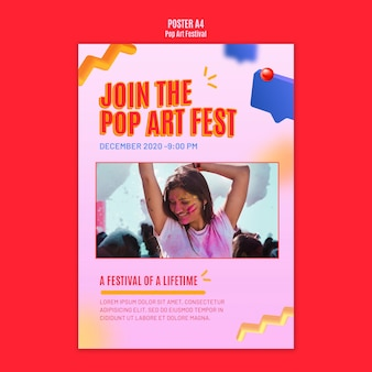Pop art festival flyer template