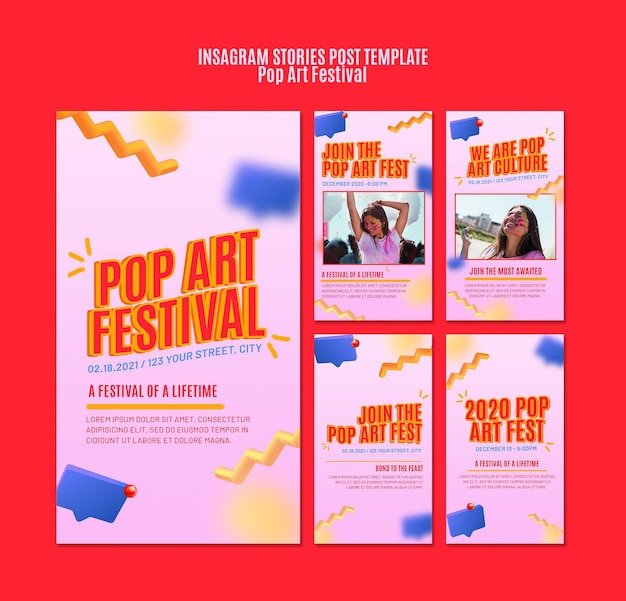 Pop art festival instagram stories template