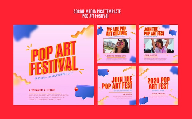 Modello di post sui social media del festival di pop art
