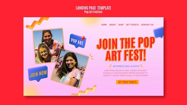 Pop art festival template landing page