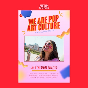 Pop art festival template poster