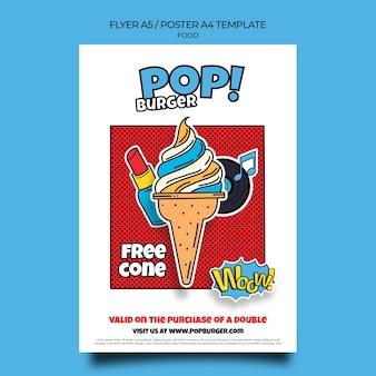 Modello di stampa di cibo pop art