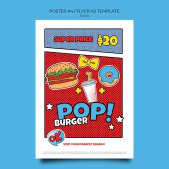 Pop art food print template