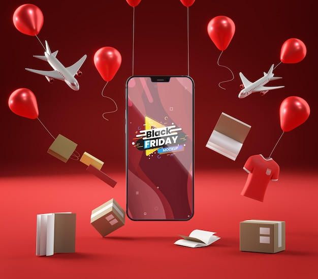Pop-up sale balloons and mobile phone on red background