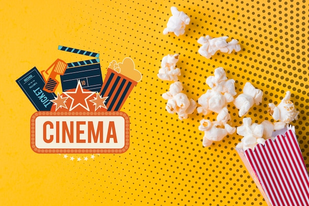 Popcorn and cinema mock-up flat lay