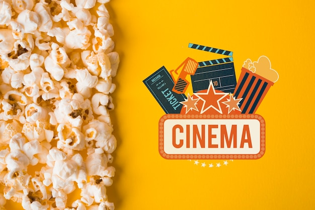 Popcorn and cinema mock-up top view