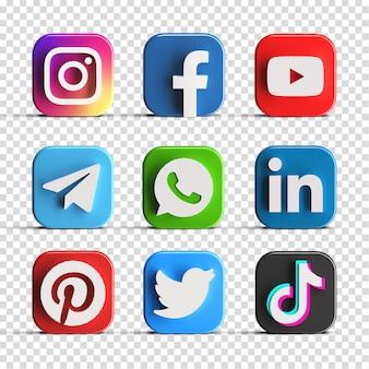 人気の光沢のあるソーシャル メディアのロゴ アイコン セット コレクション パック