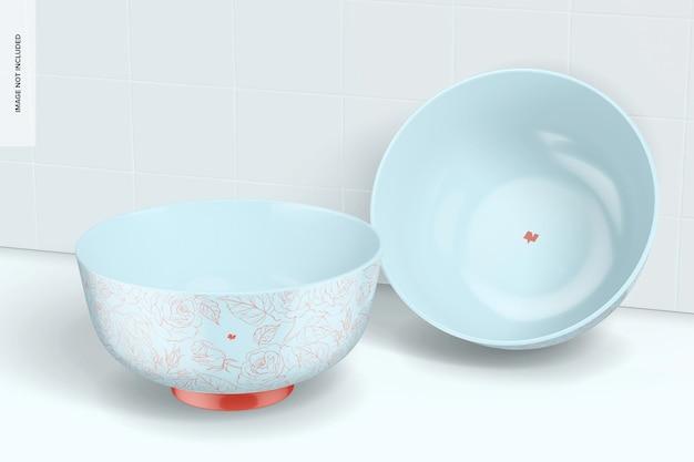 Porcelain dessert bowls mockup, leaned