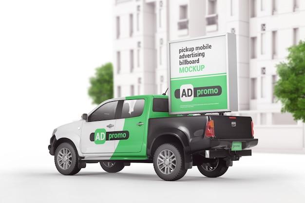 Portable mobile advertising box sign mockup