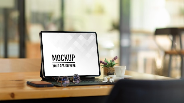 Portable workspace with digital tablet mockup