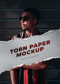 Portrait banner mockup with torn paper effect