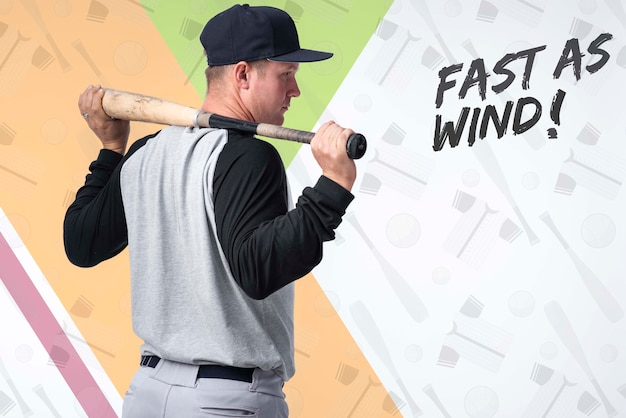 Portrait of baseball player holding a bat
