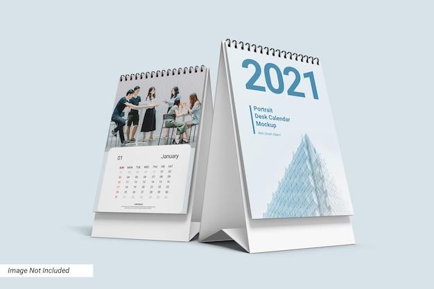Portrait desk calendar mockup