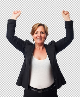 Portrait of a mature business woman celebrating a victory