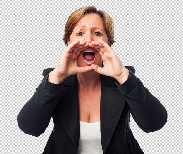 Portrait of a mature business woman shouting
