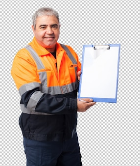 Portrait of a mature worker showing files