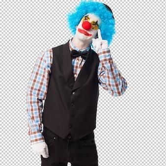 Портрет смешного клоуна над белым Premium Psd